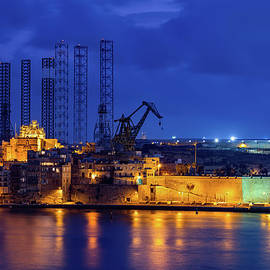 City Skyline of Senglea in Malta at Night by Artur Bogacki