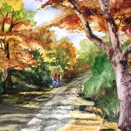 WALKING...AWAY ... Watercolor of a Walk at Lake Johnson Park in Raleigh NC by Catherine Ludwig Donleycott