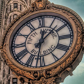 Classic Timex Clock Fifth Ave NY Flatiron Building  by Chuck Kuhn