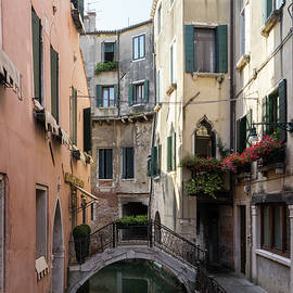 Classic Venetian - Reflecting on Rio de San Zanivoro Canal and a Dainty Bridge  by Georgia Mizuleva