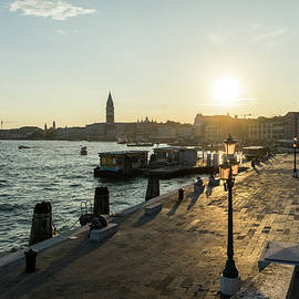 Classic Venetian - Splendid Sunset on the Waterfront Promenade Riva degli Schiavoni  by Georgia Mizuleva