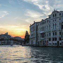 Classic Venetian - Sunset Sail towards the Accademia Bridge on the Grand Canal by Georgia Mizuleva