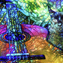 Classical Guitar and Black Cat by Peggy Collins