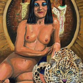 Cleopatra naked with her leopard by Pictor Mulier
