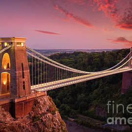 Bristol Bridge at sunset - Clifton suspension bridge over the Avon Gorge at sunset, Bristol, England by Neale And Judith Clark