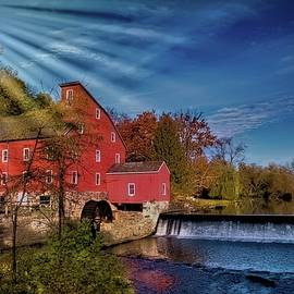 Clinton Red Mill and sun glare by Geraldine Scull