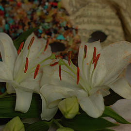 Close-up of white lilies with mask by Rita Di Lalla