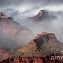 Clouds and Fog in Winter at Grand Canyon National Park by Tom Schwabel