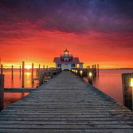 Coastal NC OBX Lighthouse Sunrise Seascape Manteo Outer Banks North Carolina by Dave Allen