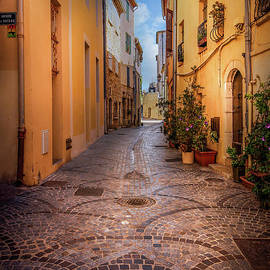 Cobblestone Alley in Antibes, France by Liesl Walsh