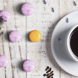 Coffee And Macarons on Wood by Johanna Hurmerinta