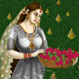 Collecting roses from garden by Anjali Swami