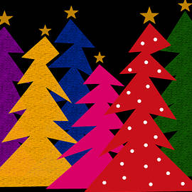 Colorful Abstract Christmas Trees by Val Arie