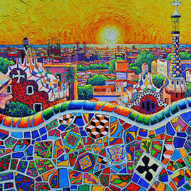 COLORFUL BARCELONA PANORAMA PARK GUELL MAGICAL SUNRISE impasto knife oil painting Ana Maria Edulescu by Ana Maria Edulescu