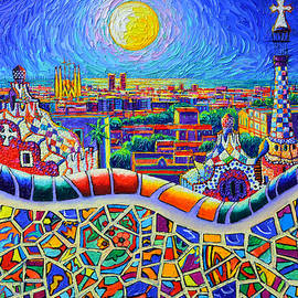 COLORFUL BARCELONA PARK GUELL MAGIC NIGHT BY MOON palette knife oil painting by Ana Maria Edulescu by Ana Maria Edulescu