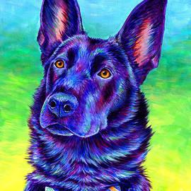Colorful Black German Shepherd Dog by Rebecca Wang