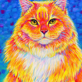 Colorful Buff Orange Tabby Cat - Cheezie by Rebecca Wang