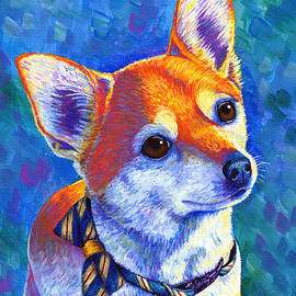 Colorful Cute Chihuahua with Bowtie by Rebecca Wang