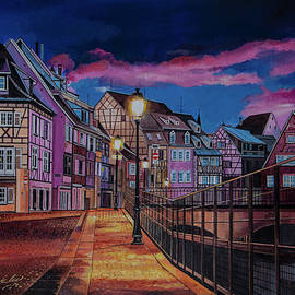 Colorful Evening Street Lamps by Bill Dunkley