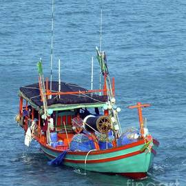 Colorful Fishing Boat by Barbie Corbett-Newmin