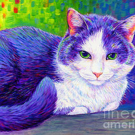 Colorful Grey and White Kitty by Rebecca Wang