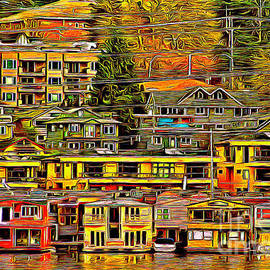 Colorful Lake Union Floating Homes  by Sea Change Vibes