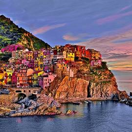 Colorful Manarola at Dusk by Frozen in Time Fine Art Photography