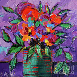 Colorful Mini Floral On Purple by Mona Edulesco