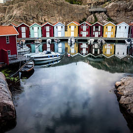 Colorful Old Fishing Huts on the Smogen Boardwalk by Nicklas Gustafsson