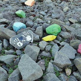 Colorful painted abstract decorated stones at river side 5. by Akos Horvath Decor