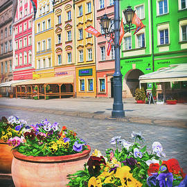 Colorful Pansies Wroclaw Market Square  by Carol Japp