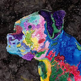 Colorful Rainbow Boxer Dog by Conni Schaftenaar