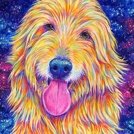 Colorful Rainbow Goldendoodle by Rebecca Wang