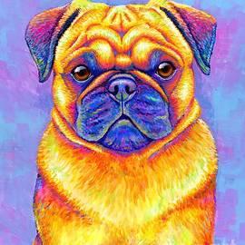 Colorful Rainbow Pug Dog Portrait by Rebecca Wang