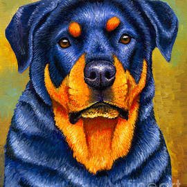Colorful Rottweiler Dog by Rebecca Wang