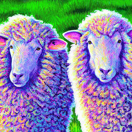 Colorful Sheep Portrait - Charlie and Curtis by Rebecca Wang