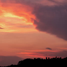 Colorful Sunset over Tree Silhouettes by Alexios Ntounas
