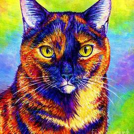 Colorful Tortoiseshell Cat by Rebecca Wang