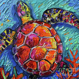 COLORFUL TURTLE 1 commissioned palette knife oil painting Mona Edulesco by Mona Edulesco