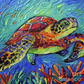 COLORFUL TURTLE 2 commissioned palette knife oil painting Mona Edulesco by Mona Edulesco