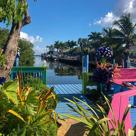 Colorful Walkway to the Water West Island Florida  by Jacqueline Bergeron