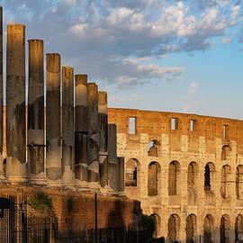 Colosseum and Via Sacra Columns at Sunset by Artur Bogacki