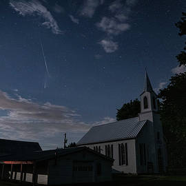 Comet with Meteor over Church by Tyler Schlitt