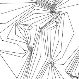 Confinement   Black Ink on White Geometric Drawing by Nancy Jacobson