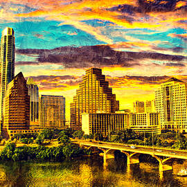 Congress Avenue bridge and downtown Austin skyline at sunset - digital painting by Watch And Relax