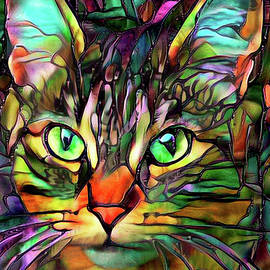 Cookie the Stained Glass Cat - Vertical by Peggy Collins