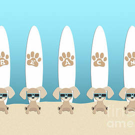 Cool Surfing Dogs in Sunglasses with Surfboards and Beach Typography by Barefoot Bodeez Art