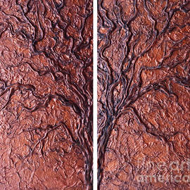 Copper Tree Collage by Trudee Hunter