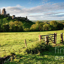 Corfe Castle ruin in Dorset England with gate by Simon Bratt Photography LRPS
