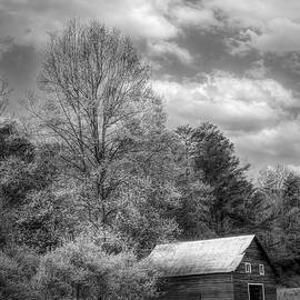 Country Barn in the Pastures Black and White by Debra and Dave Vanderlaan